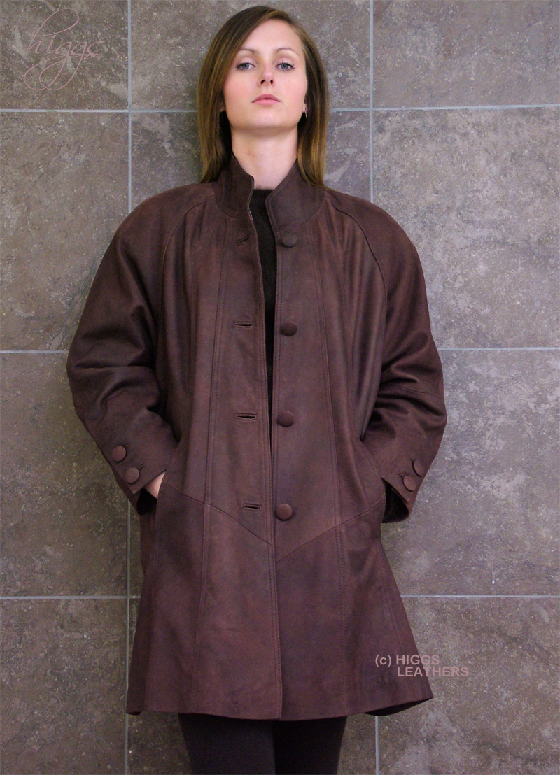 Higgs Leathers {LAST FEW!}  Shirley (Swingback 3/4 length women's Nubuck jackets) LAST FEW PLUS SIZES FROM 46' TO 52' BUST!